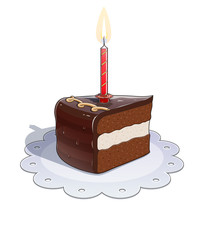 Piece of chocolate cake with candle. Eps10 vector