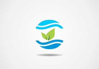 clean water nature leaf ecology circle symbol vector logo