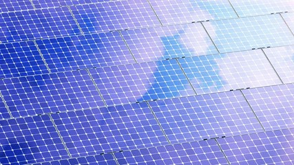 Beautiful Animation of Solar Panels reflecting Clouds. 4K.