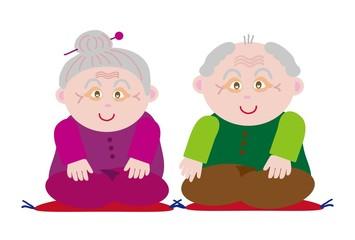 お爺さんとお婆さんの敬老の日のお祝いのイラスト