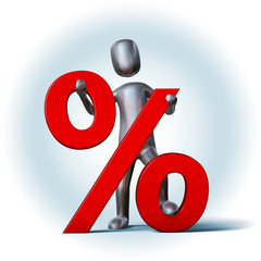 Silver Character holding percent sign