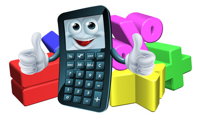 Calculator man and math symbols