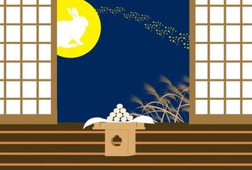 十五夜お月様とウサギと月見団子の和風イラスト