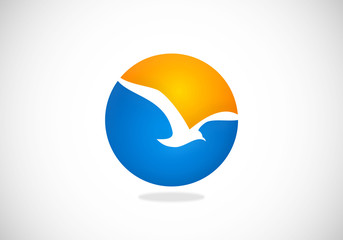 seagul bird ocean beach abstract vector logo