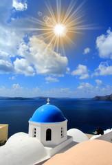 Orthodox church in Oia,  Santorini, Greece.