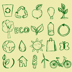 Handdrawn vector ecology icons