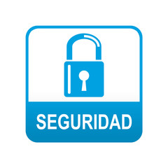 Etiqueta texto abajo azul SEGURIDAD