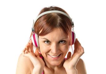 Girl listening music over white background
