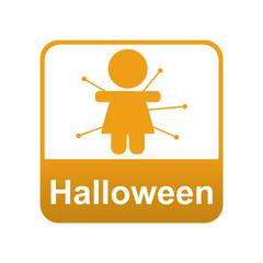 Etiqueta app abajo Halloween con voodoo doll