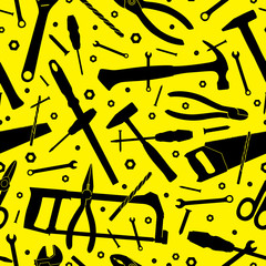 Construction tools. Seamless vector background. Template for