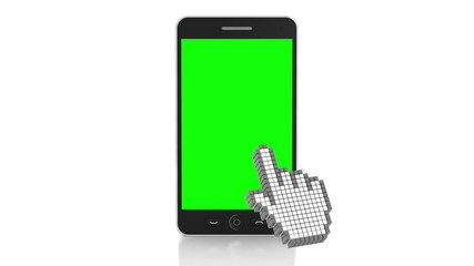 3d animation of touchscreen over a smartphone