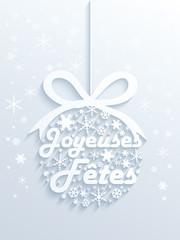 """Carte """"JOYEUSES FETES"""" (joyeux noël bonne année meilleurs voeux)"""