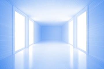 Bright blue hall with windows