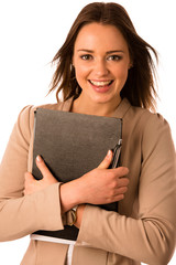 beautiful asian caucasian woman holds a folder