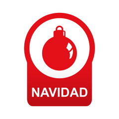 Etiqueta abajo redonda texto NAVIDAD con bola de adorno