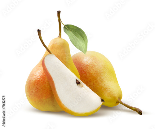 Staande foto Vruchten Two yellow pears and quarter split isolated on white