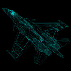 3D model of airplane isolated on BLACK background