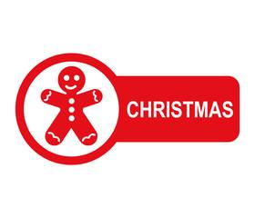 Etiqueta lateral texto CHRISTMAS con hombre de jengibre
