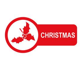 Etiqueta lateral texto CHRISTMAS con muerdago