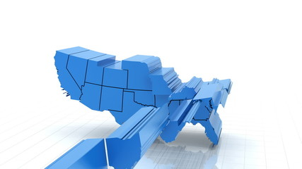 3d animation of USA map, loop with alpha matte for compositing