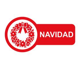 Etiqueta lateral texto NAVIDAD con guirnalda de navidad