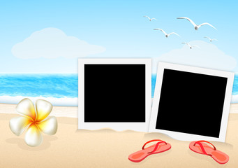 two frame picture with sandal and orchid on the beach vector