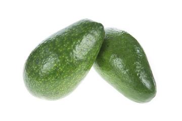 two fresh avocado isolated on white
