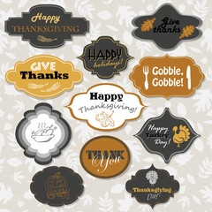 Set of isolated Thanksgiving frames and labels