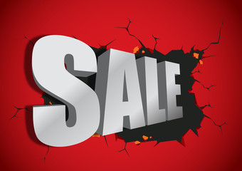 Sale 3d typography broken from the red wall vector