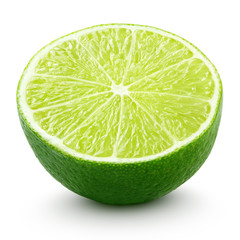 Half of lime citrus fruit isolated on white