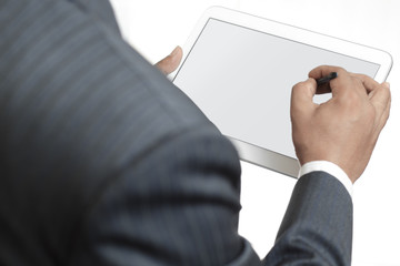 Business man holding digital tablet with blank screen