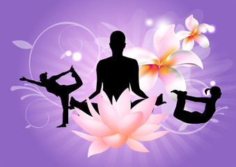 Yoga Poses with pink lotus on purple background vector