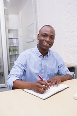 Portrait of a smiling businessman writing notes