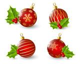 Fototapety Set of red Christmas balls