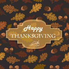 Thanksgiving background with acorns, leaves