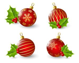 Set of red Christmas balls