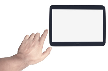 Digital tablet with blank screen and adjustable male hand