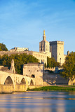 Avignon Bridge with Popes Palace and Rhone river, Provence - 71684767