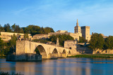 Avignon Bridge with Popes Palace and Rhone river, Provence - 71684773