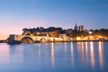 Avignon Bridge with Popes Palace and Rhone river at dawn, Pont S