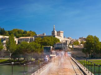 Avignon Bridge with Popes Palace and Rhone river at sunrise, Pon