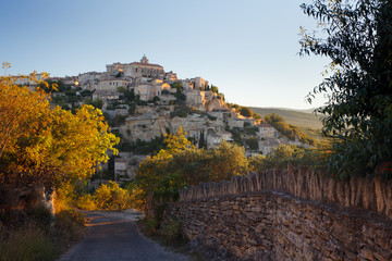 Panorama of famous Gordes medieval village sunrise view, France