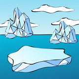 Ice floe and iceberg poster