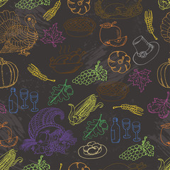 Thanksgiving seamless pattern color sketch doodle