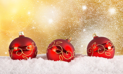 Chrsitmas red balls background