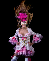 woman with mask in venetian dressed ball costume