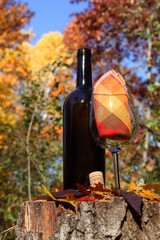 Autumn wine concept with wine bottle and glass.