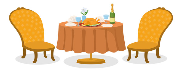 Table with meal, isolated