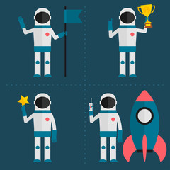Astronaut concept with flag, cup, star, rocket