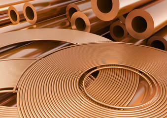 Copper wires and tubes.